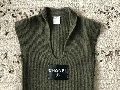 Vintage 90s CHANEL CC Logo Letters Monogram Print Sweater Knit CASHMERE Olive Green Dress Tunic Eu 38 - S / M