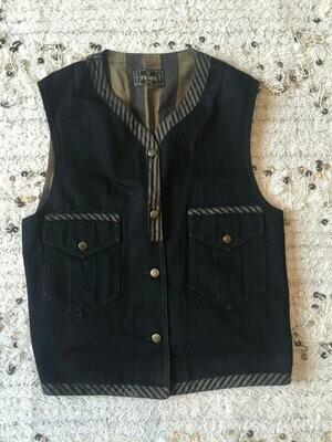 Vintage FENDI FF Zucca Pequin Stripes Print Monogram Womens Brown Black Vest Belted Jacket Dress Coat Trench  S M L