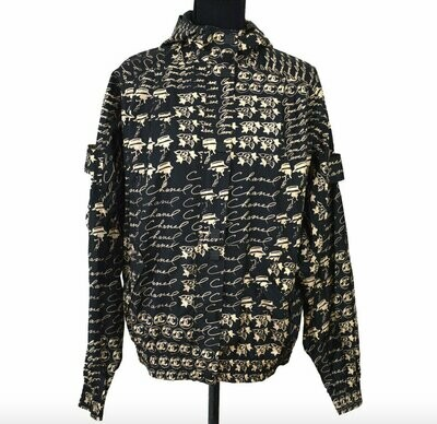 Vintage CHANEL Monogram Logo CC ICONS Mademoiselle Black Silk Jacket Parka Sport Coat Bomber Hoodie eu 38  us S M L