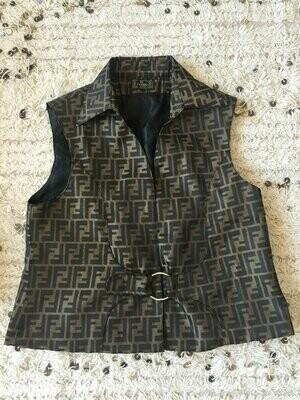 Vintage FENDI FF Zucca Print Monogram Womens Brown Black Vest Jacket Dress Coat Trench  S M L