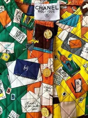 Vintage 90's CHANEL Monogram CC Logo Multicolor Quilted Jacket Blazer 38 - RARE!!
