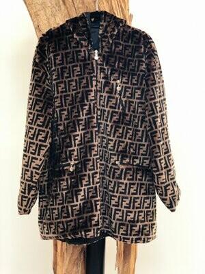 Vintage FENDI FF Zucca Print Reversible Faux Fur MONOGRAM Hooded Womens Brown Black Trench Jacket Dress Coat - Wow!!