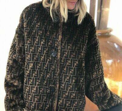 Vintage FENDI FF Zucca Print Reversible Faux Fur MONOGRAM Womens Brown Black Trench Jacket Dress Coat - Wow!!  It 40 / Us S M