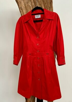 Vintage 90s CHANEL CC Logo Buttons Red Button Down Dress Jacket Coat trench  - 13 CC Buttons!!