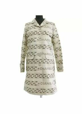 Vintage CHANEL Logo Mania!!  Chanel CC CHAINS Logos & Chanel buttons Button Up Shirt Blouse Dress Jacket Coat Trench 36 / S