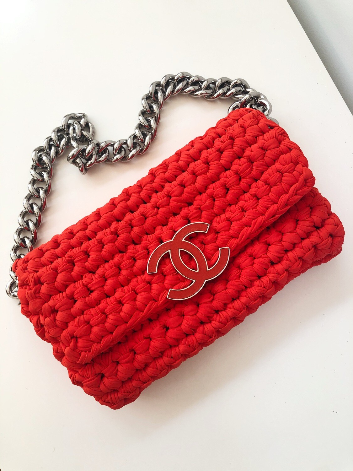 CHANEL CC PINK / RED CROCHET FLAP WITH THICK CHAIN