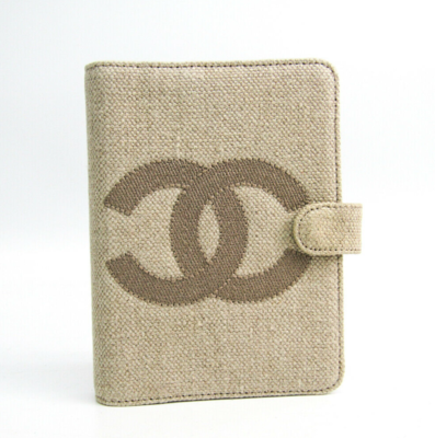 VINTAGE CHANE CC LOGO LINEN AND LEATHER AGENDA PLANNER