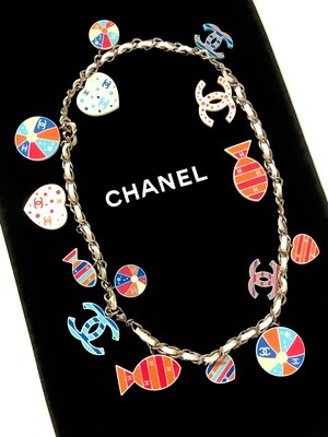 CHANEL HEART FISH CC CHARMS NECKLACE / CHAIN BELT