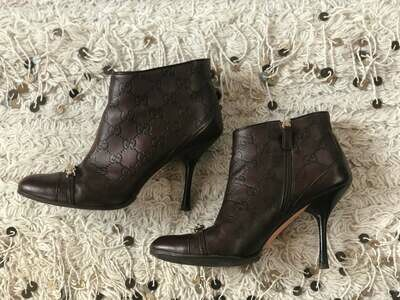 Vintage 90's GUCCI Monogram Guccissima GG Logo with ID Plate Booties Heels Boots Brown Leather eu 37.5 us 7 - 7.5