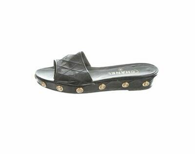 Vintage CHANEL CC BUTTONS Medallions Black Flats platform Sandal Wedge Mules Sides Heels eu 39 us 8 - 8.5