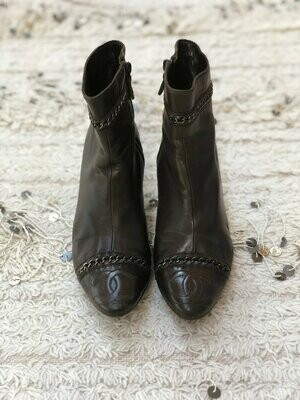 Vintage CHANEL CC CHAIN Logos Brown Leather Boots Booties Heels eu 37 us 7 - 7.5