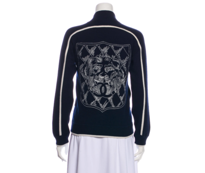 CHANEL CASHMERE NAVY ZIP UP JACKET WITH CC LOGO DESIGN 38