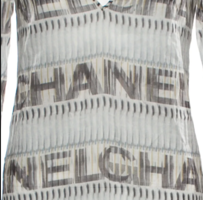 CHANEL LETTER PRINT DRESS COVER UP