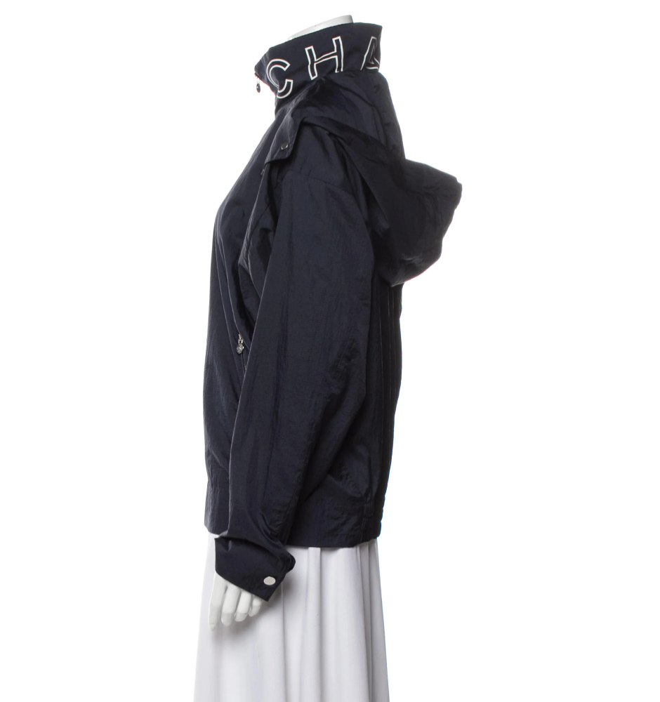 CHANEL LETTER NAVY WHITE SPORT HOODIE JACKET