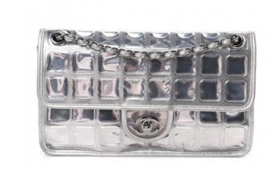 """CHANEL CC """"ICE CUBE"""" SILVER LEATER VINYL DOUBLE CHAIN FLAP BAG"""