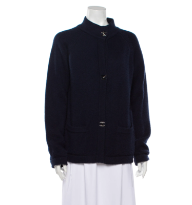 CHANEL CASHMERE TURNLOCK SWEATER CARDIGAN - NAVY