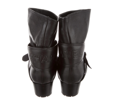 CHANEL LETTER LOGO HARNESS BLACK LEATHER BOOTS 40.5 / 10.5