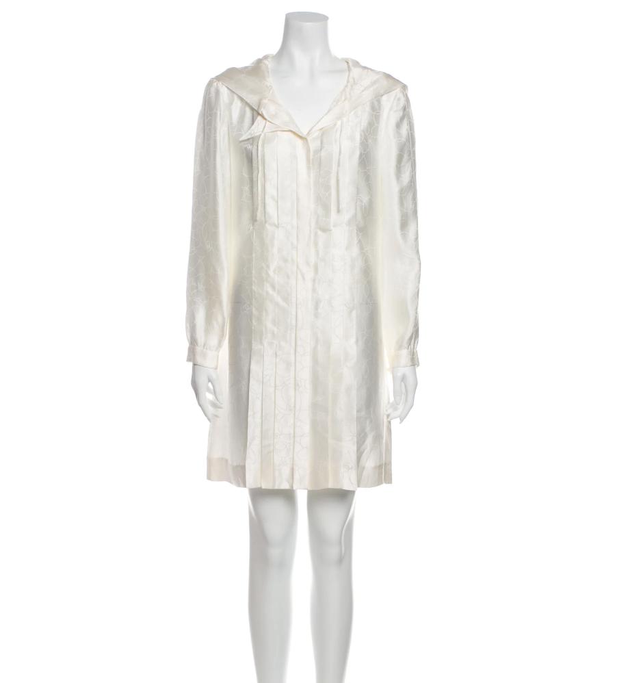 CHANEL CC LOGO FLORAL PRINT SILK DRESS WITH HOOD FR 42 US 10