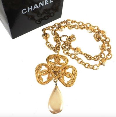 VINTAGE CHANEL TRIPLE CC ROPE DESIGN FAUX PEARL XL NECKLACE