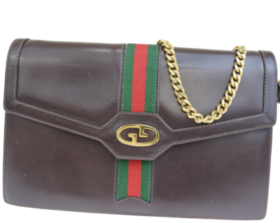 VINTAGE GUCCI 2 WAY SHERRY SHOULDER CLUTCH BAG