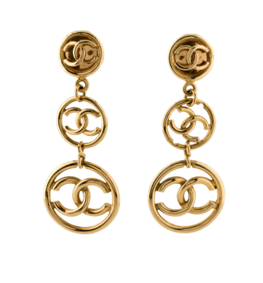 VINTAGE CHANEL CC TRIPLE HOOP GOLD DANGLE EARRINGS