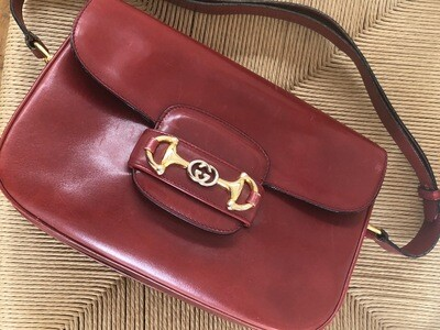 VINTAGE GUCCI RED HORSEBIT 1955 LEATHER SHOULDER BAG
