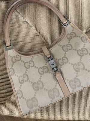 VINTAGE GUCCI GG MONOGRAM TOP HANDLE JACKIE BAG BEIGE / TAN