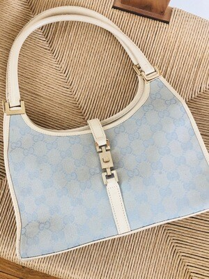 VINTAGE GUCCI GG TOP HANDLE JACKIE BAG BLUE / WHITE