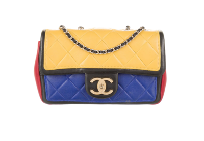 CHANEL CC PRIMARY RED BLUE YELLOW  QUILTED LEATHER CC FLAP SHOULDER BAG