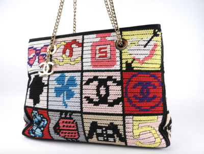 VINTAGE CHANEL CC NEEDLEPOINT LOGOS SHOULDER BAG