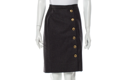 VINTAGE CHANEL CC BUTTON LOGO WOOL SKIRT 29
