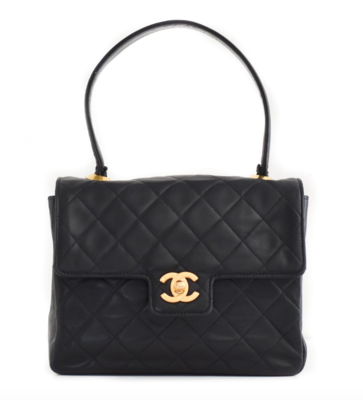 VINTAGE CHANEL CC QUILTED KELLY TOP HANDLE BAG