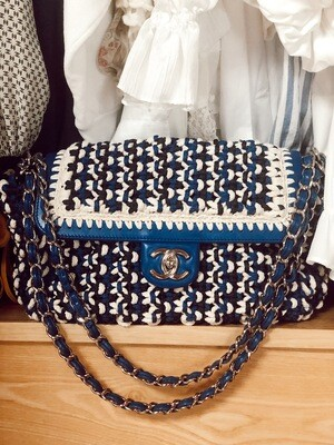 CHANEL JUMBO BLUE WHITE CROCHET WOVEN FLAP