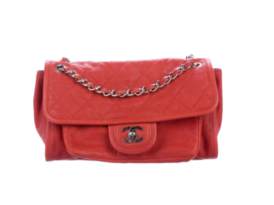 CHANEL CC MEDIUM FLAP RED QUILTED LEATHER SHOULDER CROSSBODY BAG