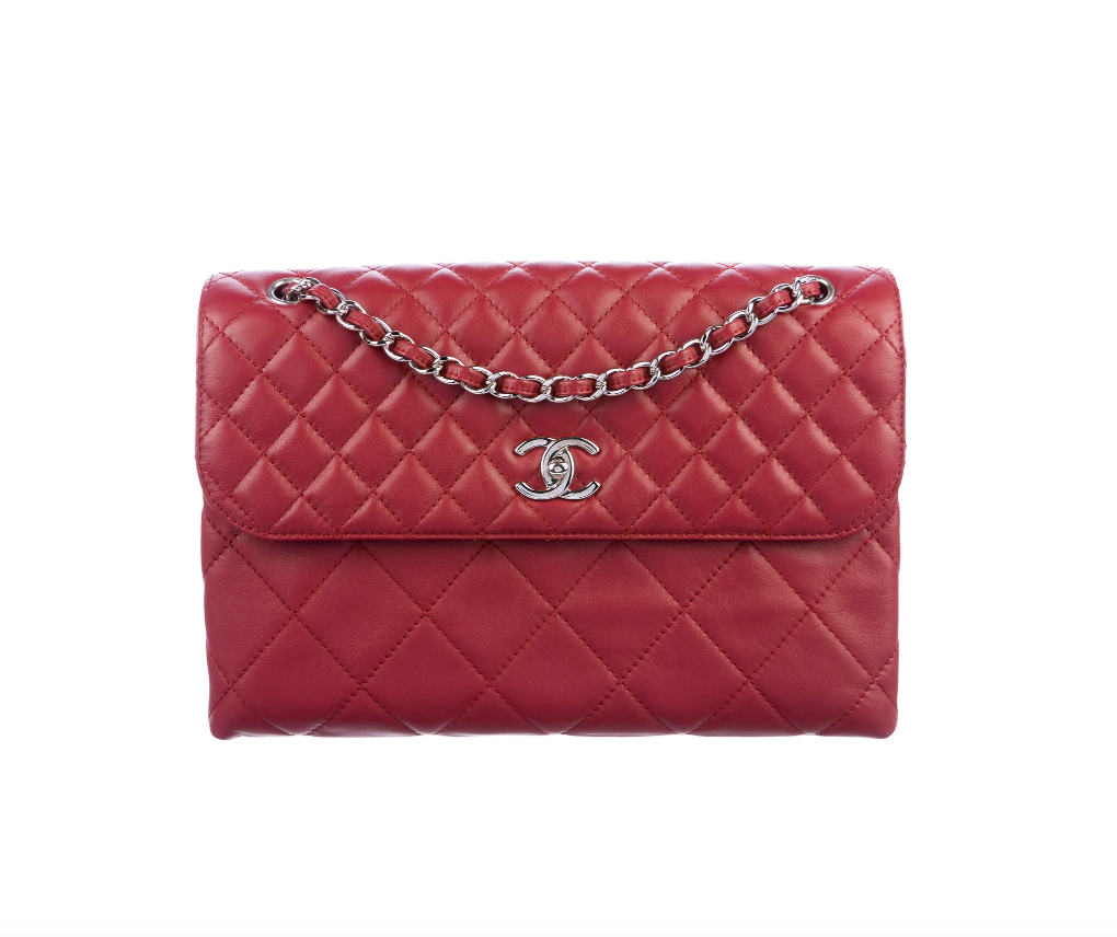 CHANEL CC RED QUILTED JUMBO FLAP SINGLE CHAIN - EXCELLENT