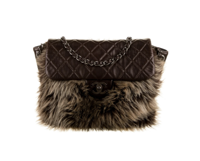CHANEL CC FAUX FUR BROWN LEATHER FLAP XL SHOULDER BAG