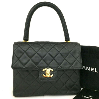 VINTAGE CHANEL BLACK LEATHER KELLY MINI FLAP BAG