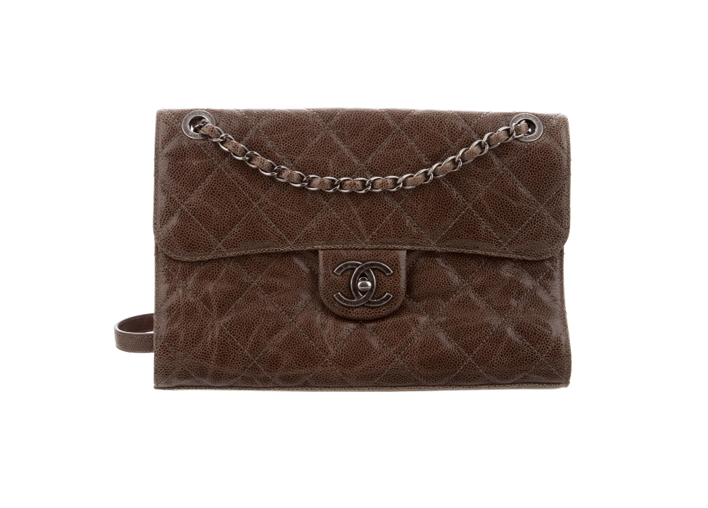 CHANEL CC CAVIAR BROWN JUMBO QUILTED FLAP BAG