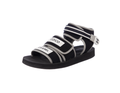 CHANEL CC BLACK WHITE NEOPRENE DAD SANDALS 40