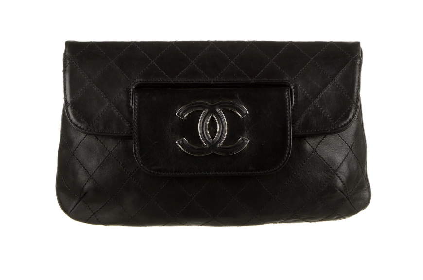 CHANEL CC LOGO BLACK QUILTED LEATHER XL CLUTCH TOP HANDLE BAG