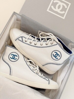 VINTAGE CHANEL CC WHITE BLUE HIGH TOP LOGO SNEAKERS TRAINERS 38