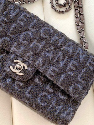 CHANEL CC LOGO LETTERS TWEED MEDIUM DOUBLE FLAP BAG