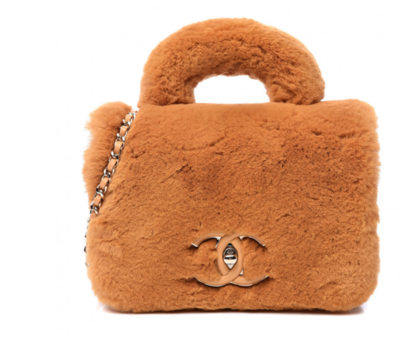 CHANEL CC ORANGE RABBIT FUR TOP HANDLE FLAP BAG