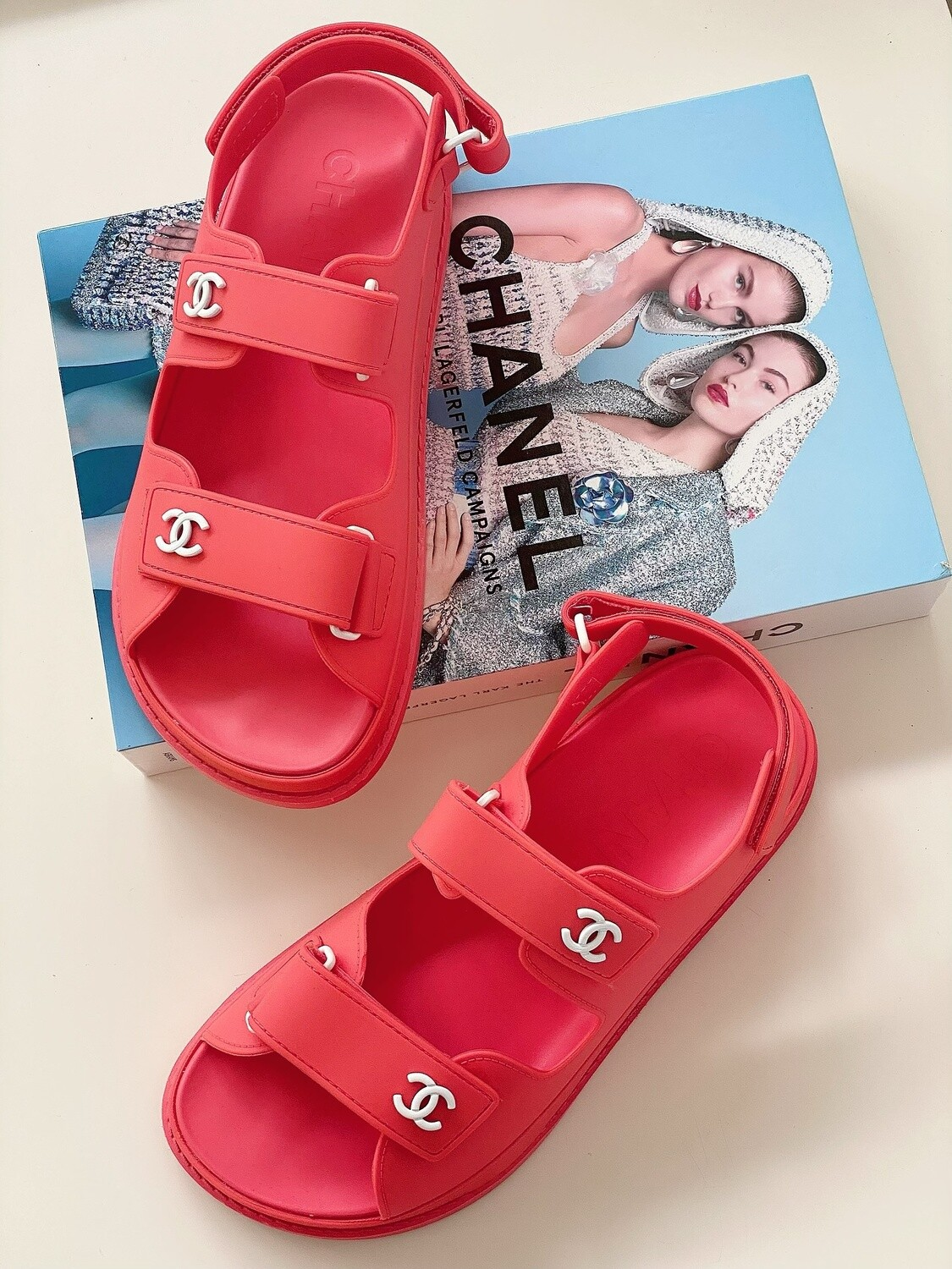 CHANEL CC DAD VELCRO SANDALS CORAL PINK / WHITE 38