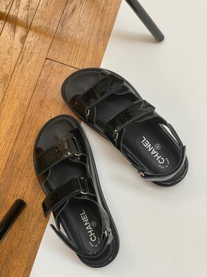VINTAGE CHANEL CC DAD VELCRO SANDALS BLACK PATENT LEATHER 38