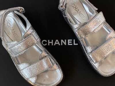 CHANEL CC VELCRO SILVER LEATHER DAD SANDALS 37.5
