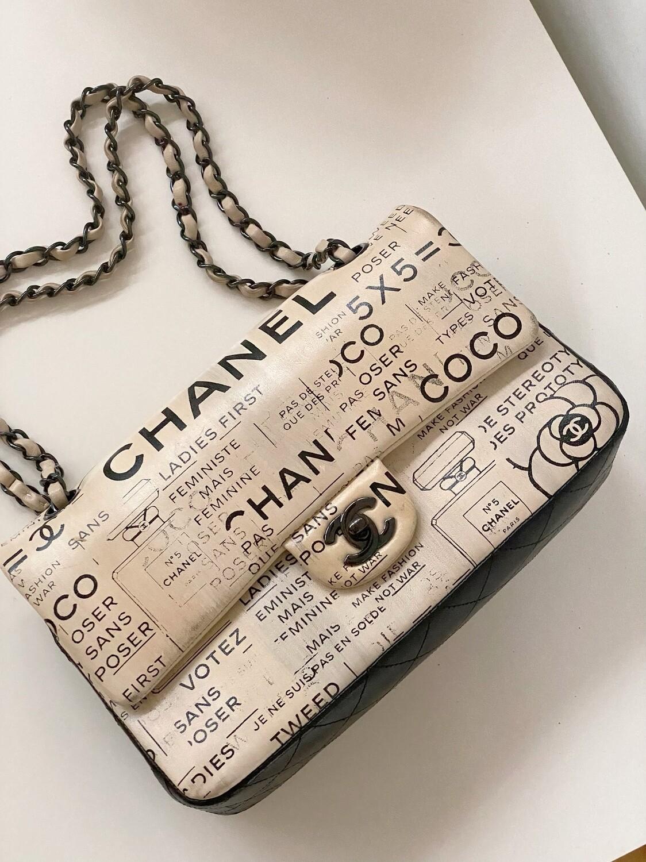 CHANEL CC NEWSPRINT PAPER MEDIUM DOUBLE FLAP BAG BEIGE / BLACK