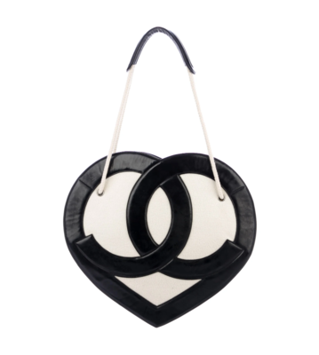 VINTAGE CHANEL CC TERRY CLOTH / LEATHER XLARGE HEART TOTE