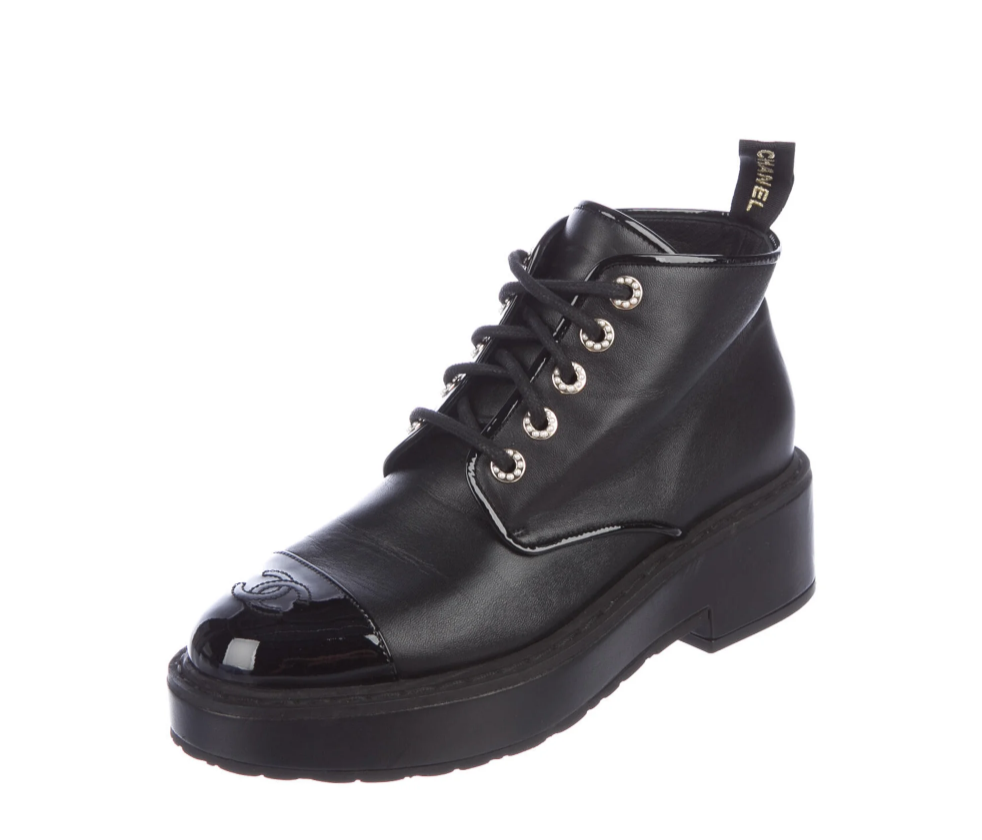 CHANEL CC LOGO & CHANEL WEBBING PEARL DETAIL COMBAT BOOTS 40 / 9