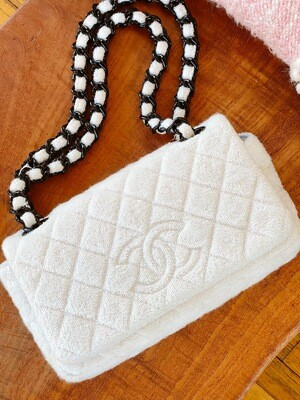 CHANEL CC QUILTED LOGO WHITE TERRY CLOTH CLASSIC FLAP SHOULDER BAG